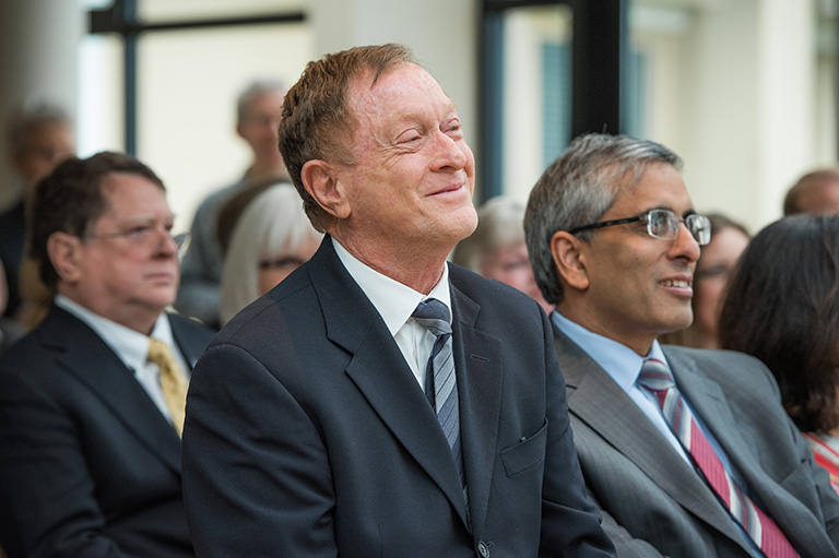 Peter A. Allard, QC with UBC President Arvind Gupta. Photo Credit: Martin Dee