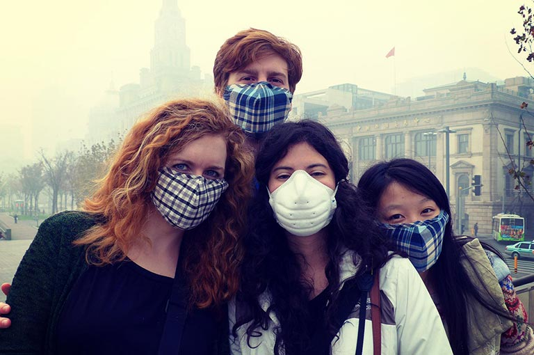 Team Safe Food in the field in Shanghai. From left Katelyn, Jimmy, Aurora, Cherry. Photo Credit: David Rummel